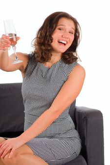 Free The Beautiful Woman Gives A Toast Champagne Royalty Free Stock Photos - 17103328