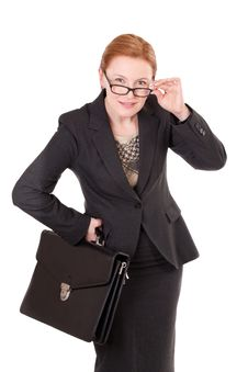 Free Red Hair Businesswoman In Glasses On White Stock Photography - 17103532