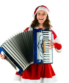 The Woman In A Suit Santa, Plays An Accordion. Stock Photos