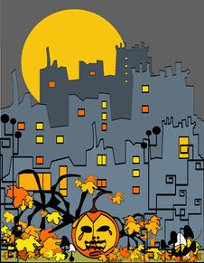 Free Halloween City With Pumpkin Royalty Free Stock Image - 17104706
