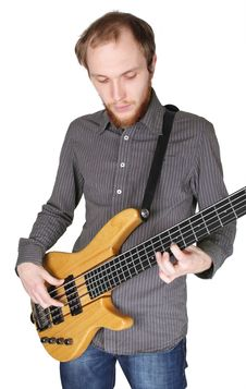 Free Young Man With Beard Playing Bass Guitar Stock Image - 17105101