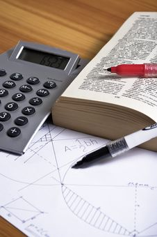 Free Geometry Paper With Book And Calculator Stock Photography - 17105362