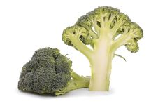 Free Halved Broccoli Isolated On White Royalty Free Stock Images - 17105989