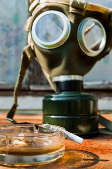 Free Cigarette With Pot And Gasmask Stock Image - 17106701