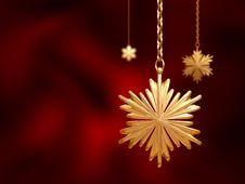 Golden Christmas Snowflakes Over Red Background Royalty Free Stock Image
