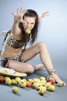 Free Aggressive Woman Eating Royalty Free Stock Photography - 17107657