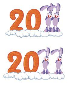 Icons With Rabbit Stock Photo