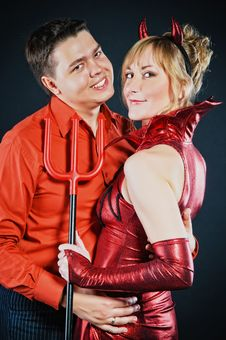 Free Red Devil Couple Royalty Free Stock Images - 17108649
