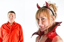 Free Red Devil Couple Stock Photos - 17108843