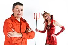 Free Red Devil Couple Stock Photo - 17108860