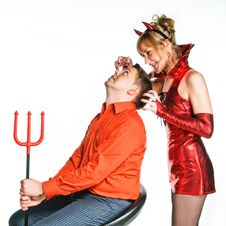 Free Red Devil Couple Royalty Free Stock Photos - 17108898