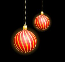 Free Two Christmas Red Spheres Stock Photos - 17109143