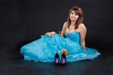 Free The Girl In The Long Blue Dress Royalty Free Stock Photos - 17109458