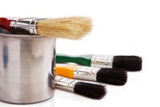 Free Paint Buckets And Paintbrush Isolated On White Stock Photography - 17109502