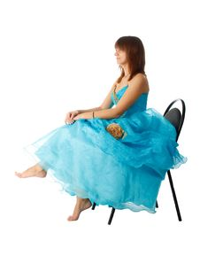 The Girl In The Long Blue Dress Royalty Free Stock Photos