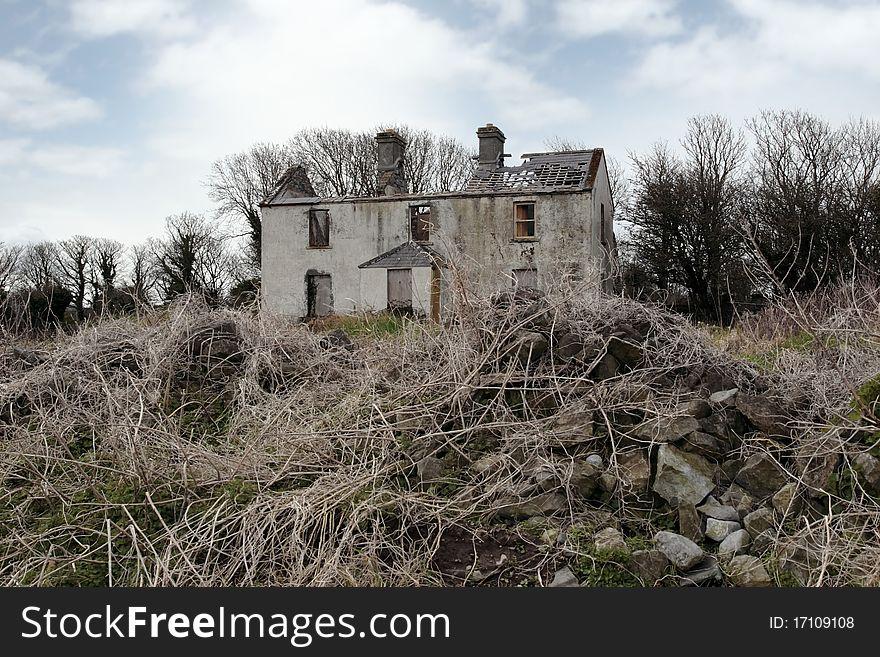 Old abandoned deserted farmhouse