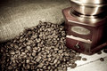 Free Coffee Beans And Grinder On Sacking In Night Stock Photo - 17110130