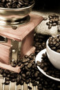 Free Coffee, Beans And Grinder On Sacking In Night Time Stock Photography - 17110212