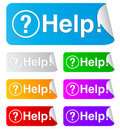 Free Help, Rectangular Stickers Royalty Free Stock Photography - 17116587