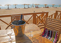 Free Wine Bottle And Glasses On A Table At A Beach Royalty Free Stock Photography - 17117827