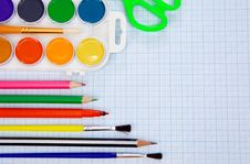 Free Pencils, Felt Pens On Graph Grid Paper Stock Photo - 17110100