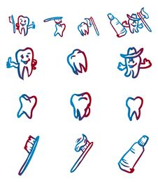 Set Of Abstract Teeth Symbol Royalty Free Stock Photo