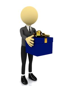 3d Person With Present Over White Royalty Free Stock Photos