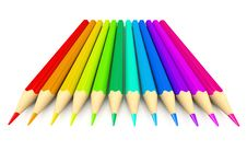 Free Colour Pencils Over White Background Stock Photography - 17111122
