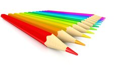 Free Colour Pencils Over White Background Stock Images - 17111134