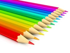 Free Colour Pencils Over White Background Stock Photo - 17111140
