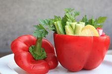 Free Bell-pepper With A Salad Royalty Free Stock Images - 17112399