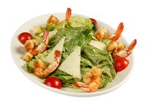 Free Salad With Shrimp Grill On White Plate Royalty Free Stock Photos - 17112438