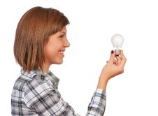 Free Girl With Bulb Royalty Free Stock Photos - 17113478