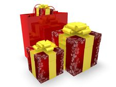 Gift Boxes And Shopping Bag Stock Photo