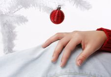 Woman Hand With A Christmas Tree In The Background Stock Images