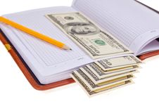 Free Notebook With Money Stock Image - 17114971