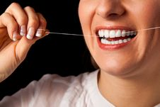 Free Woman Healthy Teeth Closeup On Black Stock Image - 17115111