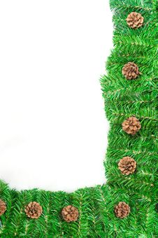 Free Christmas Green Frame With Pine Needles Isolated Royalty Free Stock Photography - 17115797