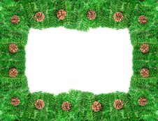 Christmas Frame With Pine Needles And Cones Stock Images