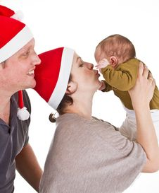 Free Baby Girls First Christmas Time Royalty Free Stock Photo - 17117205