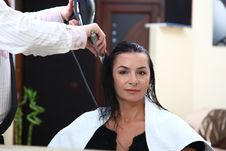 Free Portrait Of Young Woman Having Her Hair Being Cut Royalty Free Stock Photos - 17117348