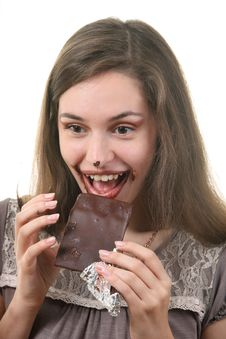 Free Woman Eat Chocolate Royalty Free Stock Images - 17118329