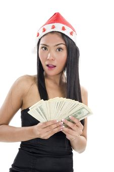 Free Woman With Santa Claus Hat And Money Stock Photo - 17118520