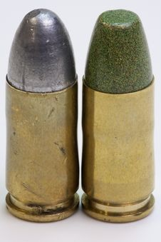Free Pair Of Reloaded Pistol Cartridges Stock Images - 17118554