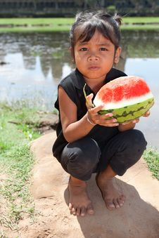 Free Asian Girl With Water Melon Stock Photo - 17123980