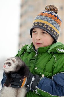 Free The Boy Holds A Polecat Royalty Free Stock Photo - 17124335