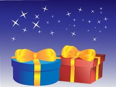 Gifts At Night Under The Stars Stock Images