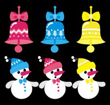 Free Snowmen And Bells Stock Photo - 17125390