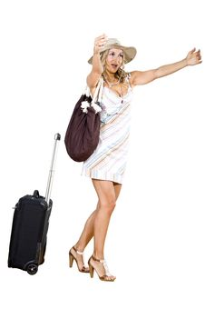 Free Woman On Vacation With Beach Bag Royalty Free Stock Photography - 17125657