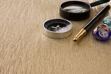 Free Compass, Ink Pen And Magnifier On Background Stock Images - 17126894